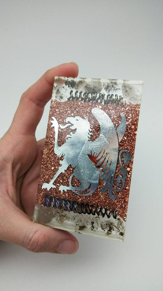 Griffin of Power! Quartz and Energy Coils - Copper Filter Agate Butterfly Hand Sized 4 inch tall - Orgone Power Plate