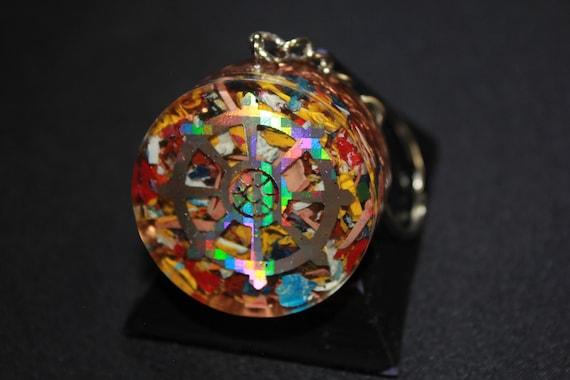 Orgone Keychain - Recycled Copper - Tumbled Quartz with Colorful Acrylic - Buddhist Wheel 1.5 inch Handmade Charm