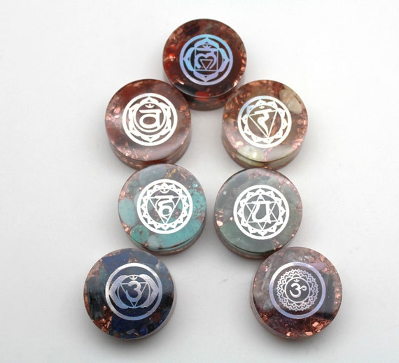 Handcrafted Chakra Orgone Collector Disk Set - Natural Minerals and Recycled Copper - 7 Color Rainbow Crystal Set for Energy Working