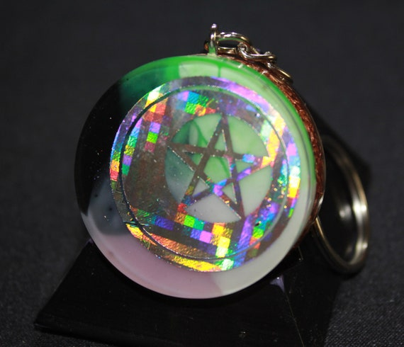 Orgone Keychain - Recycled Copper - Pastel Goth - Pentagram Moon with Pink/white/green/black mica 1.5 inch Handmade Charm