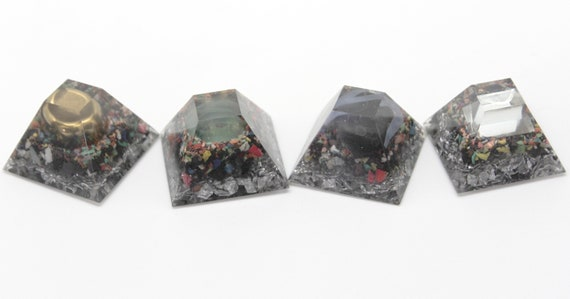 Four EMF Blocker Set - Glass, Iron, Magnet, Mirror - Four 1.3 inch Flat Top Pyramids Full of Fun Natural Electric Insulators Gift Item