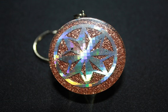 Orgone Keychain - Recycled Copper - Tumbled Quartz with Epidote and Top Notch Agate - Octogram 8 pointed Star 1.5 inch Handmade Charm