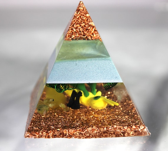 Vibrana Pyramid Pokemon Landscape Resin Orgone Desktop Display Green UV Quartz Coils Mirror Glow Dragon Pokemon