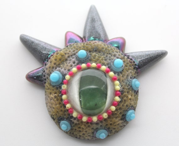 Monster Eye Refrigerator Magnet - Jade Eye! Colorful and Hand Painted Strong Magnet 2.5 x 2 inch Super Fun Conversation Piece Horns
