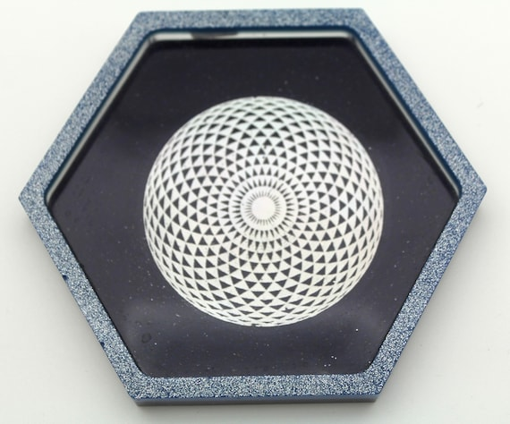 Epitrochoid Spiral Foil on solid AZURITE base with Diamond Glitter Rim 4 Inch Altar Dish Perfect for Ritual Use