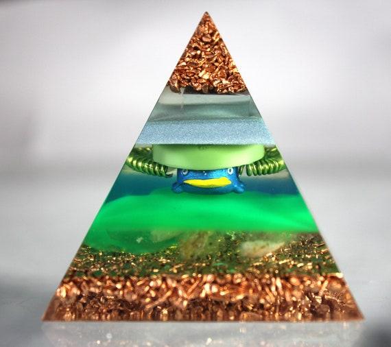 Lotad Pyramid Pokemon Landscape Resin Orgone Desktop Display Green UV Quartz Coils Mirror Glow Grass Pokemon