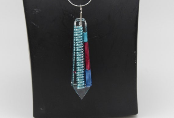The Jett - Big Main Coil of Light Blue with Red and Blue Accessory Coils - Long Flat Top Crystal Gem on Simple Chain
