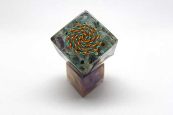 2 Inch Cube of Color - Bi-Colored Spiral with Kyanite, Aquamarine, Amethyst, Ocean Jasper, Amazonite - Great Blues w/ Included Display Stand