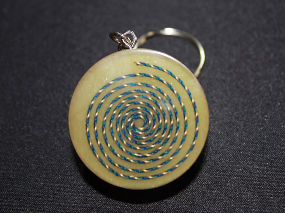 UV Glow in the Dark Spiral Orgone Keychain - Blue and Gold Vortex with Green UV, Chopped Copper and Tumbled Quartz 1.5 inch Handmade Charm