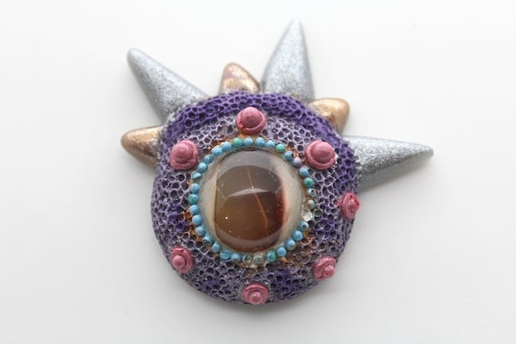 Monster Eye Refrigerator Magnet - Carnelian Eye! Colorful and Hand Painted Strong Magnet 2.5 x 2 inch Super Fun Conversation Piece Horns