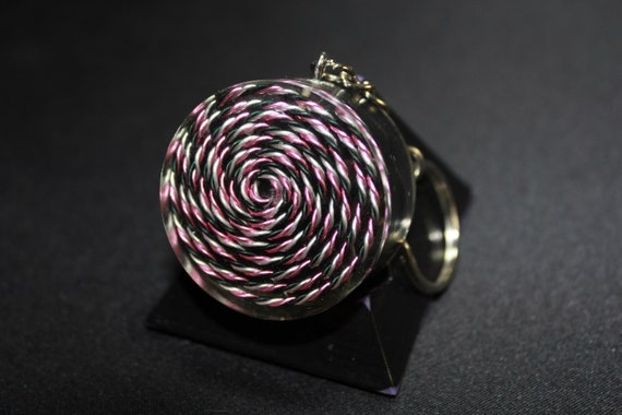 5G Spiral EMF Blocker Keychain Pocket Electrical Blocker 1.5 inch Natural Glass Obsidian Packed Great Colorful Protector Pink, Black Silver