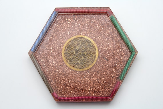 Flower of Life on solid Recycled Copper base with Colored Coil Rim 4 Inch Altar Dish Perfect for Ritual Use