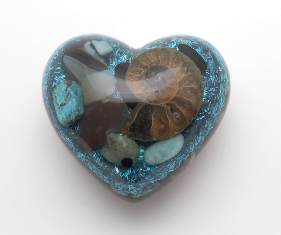 Heart with Ammonite and Minerals on Blue Hologlitter - Copper, Quartz, Amethyst, Garnet, Turquoise, Jasper Glossy all Natural 2.25 Inch