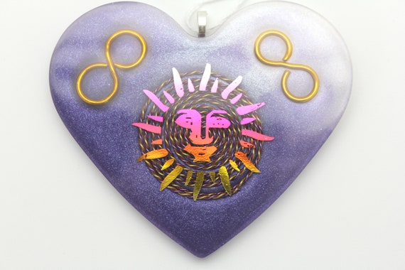Shining Sun Wall Hanging Plate = Spiral Wire Infinity Coils - Tuned for Harmonic Balancing - Heart Shaped Plate
