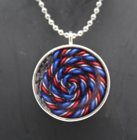 Red White and Blue Spiral - Patriotic EMF Blocking Necklace - Shredded Steel with tight Handspun Coil Simple Eye Catching Pendant