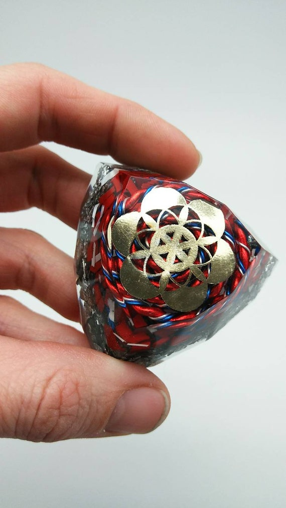 Red White and Blue Spiral EMF Blocker Fruit of Life Sacred Geometry Bauble 2.1 inch Electric Wire Insulation Fun Pocket Electrical Dampener