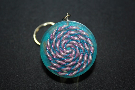 Spectrum Harmonizing Keychain - Spiral of Blue and Pink with Blue Mica and Tumbled Quartz 1.5 inch Handmade Charm