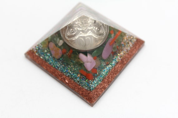 Green Money Pyramid - Copper Base with Green Glitter, Crushed Peridot, Red Coral, PhosphoSiderite and New Zealand Dime 2 inch