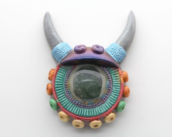 Monster Eye Refrigerator Magnet - Fluorite Eye! Colorful and Hand Painted Strong Magnet 2.5 x 2 inch Super Fun Conversation Piece Horns