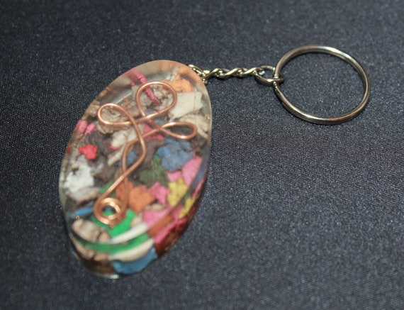 Hand Twisted Ankh made of Copper Wire over Shredded Rainbow Plastic  Keychain 2 inch Pocket Fob - Gold Foil