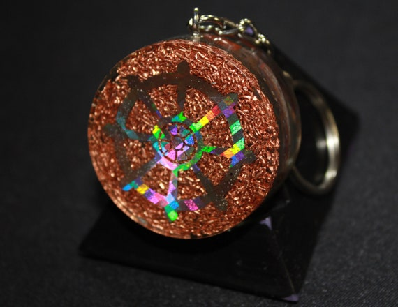 Orgone Keychain - Recycled Copper - Tumbled Jasper with Siderite and MIRRORS - For Reflection - Buddhist Wheel 1.5 inch Handmade Charm