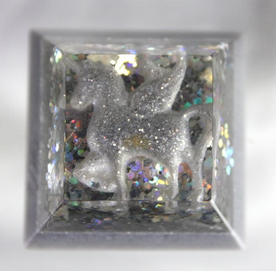 Frozen Snowy Pegasus Harmonic Balancing Totem - Snowy and Colorful Iridescence  1.25 inch