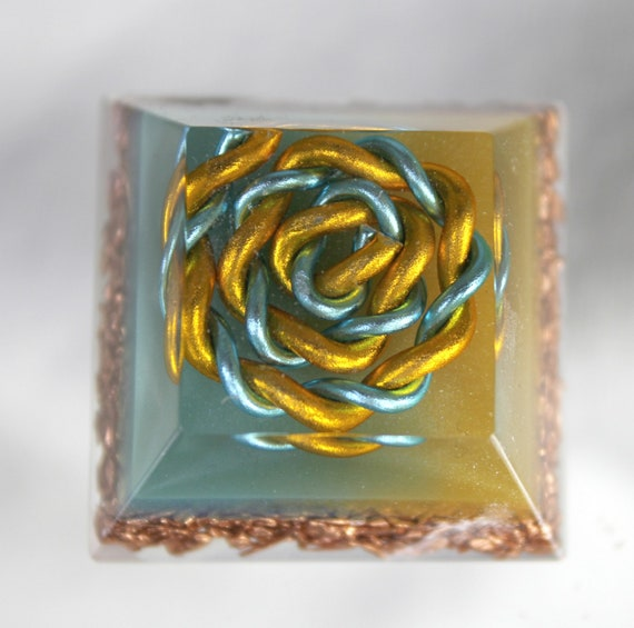 Mini Altar Orgone Energy Yellow and Blue Spiral on UV Glowing Background Copper - 1.25 inch