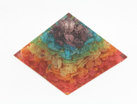Fruity Pebbles Chakra Pyramid Made out of Hand Sorted Cereal in a Beautiful Rainbow Wonderful Conversation Piece!  3X2 Inch