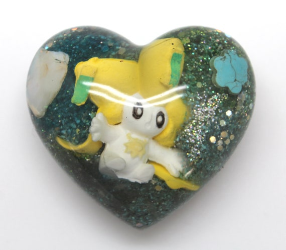 Jirachi Pokemon Gen3 Heart Make a Wish Pokemon Display Piece PoGo - Mystical Pokemon Trapped in Resin! With Opal and Turquoise