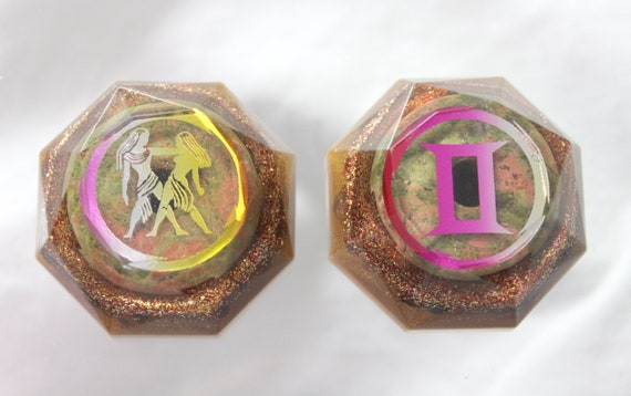 Gemini Twins Unakite Power Stones - Separate for a year - Combine once a year for 1000x power!