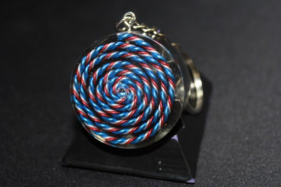 5G Spiral EMF Blocker Keychain Pocket Electrical Blocker 1.5 inch Natural Glass Obsidian Packed Great Colorful Protector  Red Blue and White