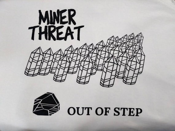 """Limited edition Tucson Gem Show """"Miner Threat"""" tshirt - Out of Step - Quartz Crystals - fun homage to classic punk rock albumn cover"""