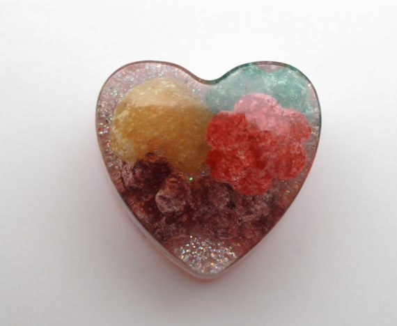 """1.25"""" Trix Cereal Heart with Diamond Glitter Super Fun Gift Bauble for the Breakfast Lover in Your Life!  General Mills"""