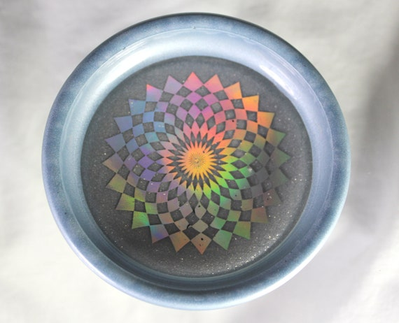 Holographic Geometric Foil Round Altar Tray - Rainbow Foil Decor Beautiful Colors 3.75 inch Round