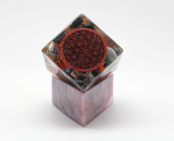 Flower of Life Sparkling Orgone Generating Power Cube 2 inch on Custom Made Base - Kyanite, Spiral, Garnet, Sodalite, Turquoise, Amethyst