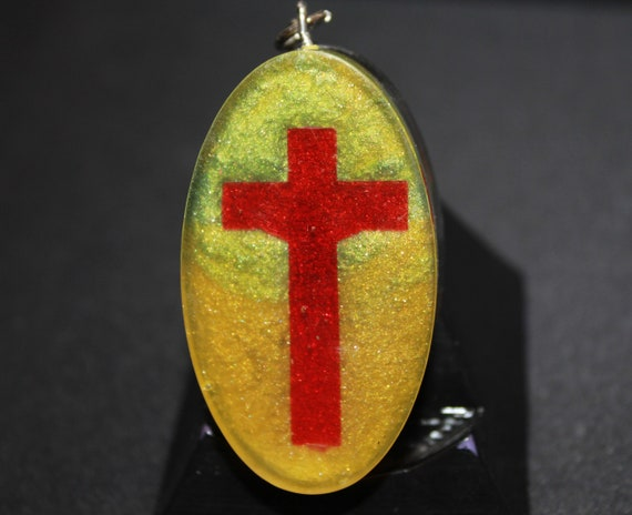 EMF Blocker Keychain Pocket Electrical Blocker 2 inch Red Cross on Yellow Mica with Tumbled Obsidian Apache Tear Insulation