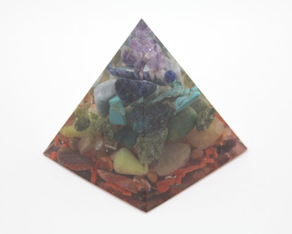 """2.25"""" 7 Layer Chakra Pyramid Mineral and Gem Filled NO Metal - All Stone Made in America Turquoise, Coral, Amethyst, Peridot"""