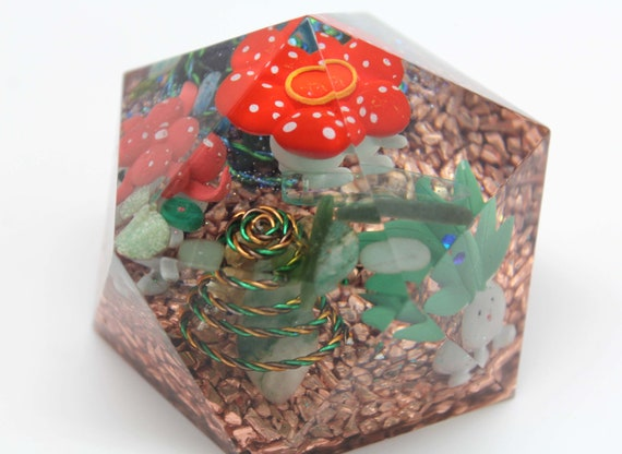 Oddish Gloom VIleplume Evolution Gem - Orgone Landscape Geodome Super Fun Desktop Decoration - Pokemon Gen 1 Grass/Poison Pokes Copper Gems