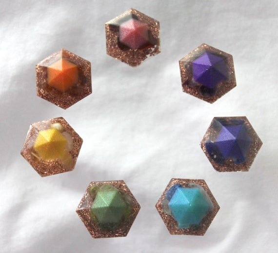 Custom  Mica Tip Orgone Chakra Set 1+ Inch Gems Filled with Minerals and Copper - Perfect Reiki Healing Collection - All 7 Colors