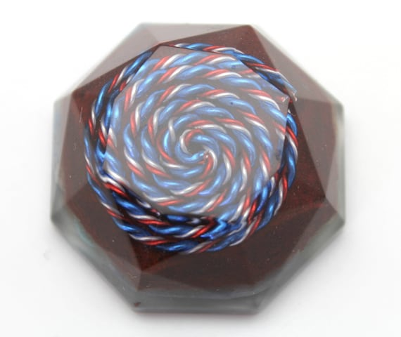 Red White and Blue Spiral Spectrum Harmonizer Re tune your environment - Balance the minor key harmony at Home Lapis and Turquoise