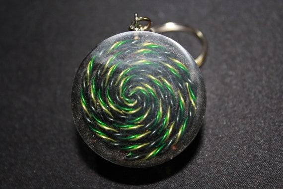 Dark Sparkle Spiral Orgone Keychain - Rainbow Hematite mixed with Quartz between Shredded Copper and a Bold Spiral 1.5 inch Handmade Charm