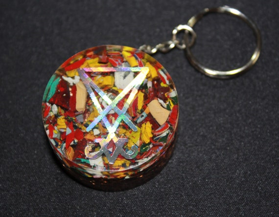 Sigil of Lucifer Orgone Keychain - Recycled Copper - Tumbled Quartz with Chopped Acrylic Paint - 1.5 inch Handmade Satanic Charm