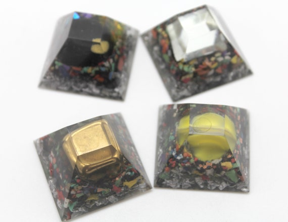 Electrical Magnetic Field Blockers - Glass, Iron, Magnet, Mirror - Four 1.3 inch Flat Top Full of Fun Natural Electric Insulators Gift Item