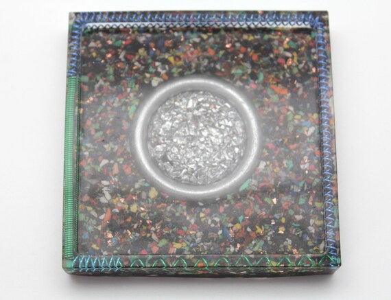 EMF Blocker Style Rainbow Insulation with Thick Steel Ring and Colorful Coils - Square Tray Perfect for Jewelry Tray, Trinkets, Home