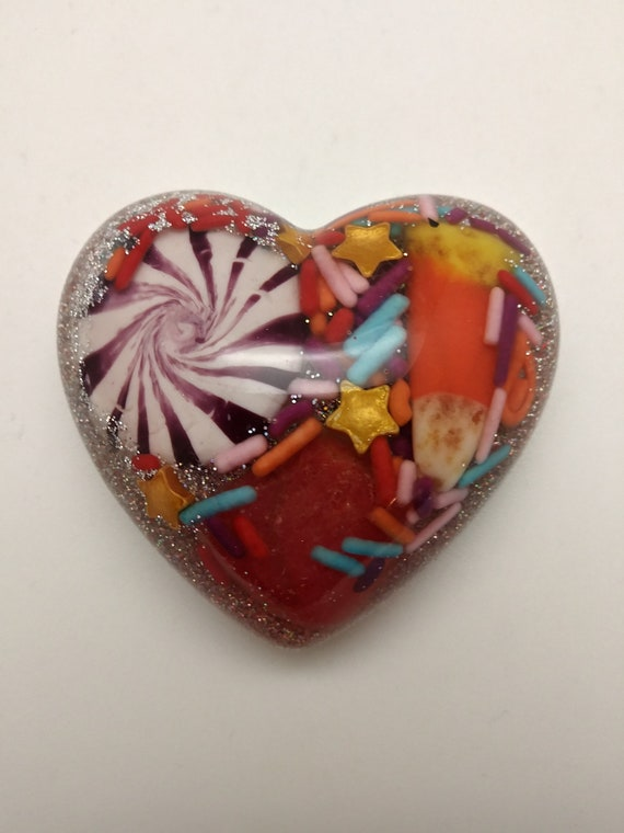 Candy explosion!  Peppermint swirls, gumdrop and sprinkles in Heart 2.25 inch super colorful candy corn