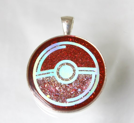 Pokemon Pokeball 30mm Round Resin Foil Pendant - Sparkling Holographic Smooth Inlay