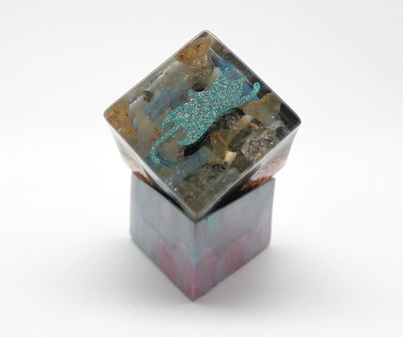 Stretching Kitty Orgone Generating Power Cube 2 inch on Custom Made Base - Kyanite, Quartz, Schorl, Mother of Pearl - Super Blue