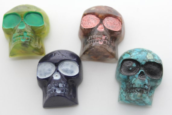 Four Gem Skull Magnets - For your Fridge! Real Azurite, Peridot, Turquoise, Gem Spinel and Ruby - Perfect for your Funky Decor - 1.25 inch