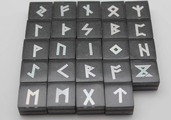 Handmade OOAK Natural Rainbow Hematite with Silver Foil Elder Futhark Rune Set 24 Tiles Ready for Readings and Casting - Viking Runes Magik