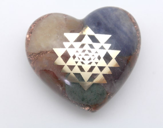 Sri Yantra of Orgone Power - Copper, Quartz, Lapis, Calcite - Cute 2 inch Heart - Bring forth the Goddess! - the beauty of the three worlds